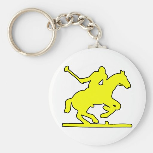 British Polo Sport Horse Player Silhouette Ponies Keychain
