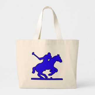 British Polo Sport Horse Player Silhouette Ponies Large Tote Bag