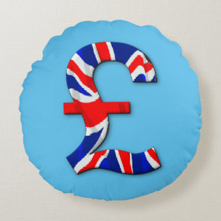 British pound symbol round pillow