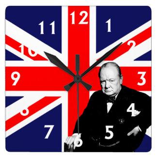 British Prime Minister Sir Winston Churchill Square Wall Clock
