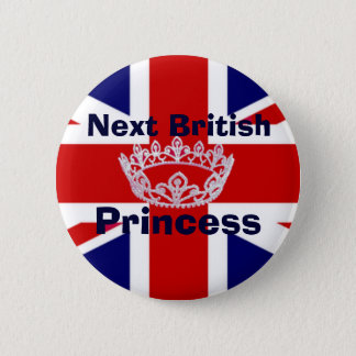 British Princess Crown Pin Button