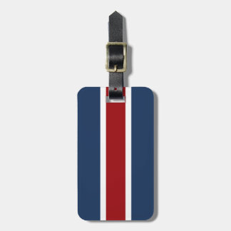 British Racing Stripe red White Blue Tag For Luggage