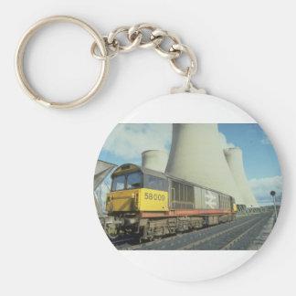 British Rail coal train at power station, U.K. Key Chain