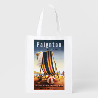 British Railways Beach Chair and Ball Poster Grocery Bag