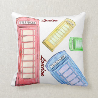 British red phone booth - colors toss pillow