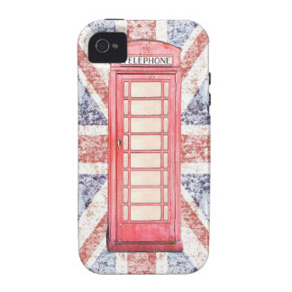 British red phone booth on Union Jack background Case-Mate iPhone 4 Covers