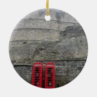 British Red Phone Boxes at Edinburgh Castle Ceramic Ornament