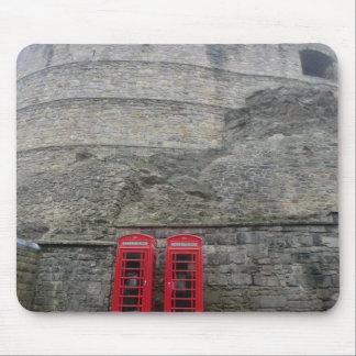 British Red Phone Boxes at Edinburgh Castle Mousepad