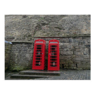 British Red Phone Boxes at Edinburgh Castle Post Card