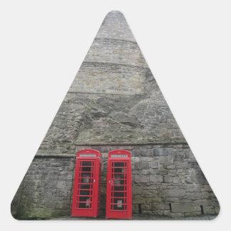 British Red Phone Boxes at Edinburgh Castle Triangle Sticker