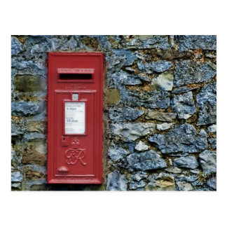 British Red Post Box Stone Wall Picture Postcard