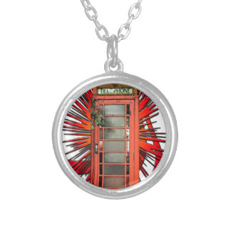 British Red Telephone Box Art Personalized Necklace