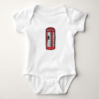 British Red Telephone Box Cartoon Illustration Baby Bodysuit