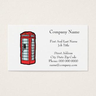 British Red Telephone Box Cartoon Illustration Business Card