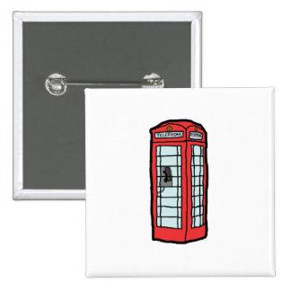 British Red Telephone Box Cartoon Illustration Button