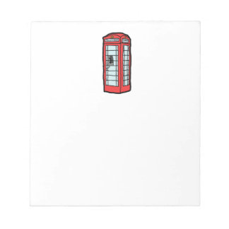 British Red Telephone Box Cartoon Illustration Notepad