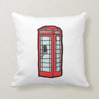 British Red Telephone Box Cartoon Illustration Pillow