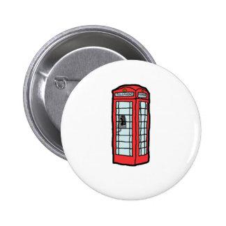 British Red Telephone Box Cartoon Illustration Pinback Button