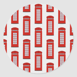 British Red Telephone Box Pattern Classic Round Sticker