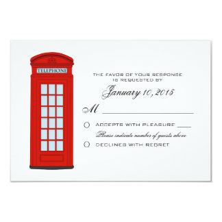 British Red Telephone Box Wedding RSVP Custom Card