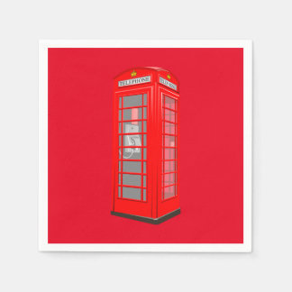 British Red Theme London Phone Booth Paper Napkins