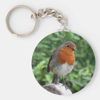 British Robin Basic Round Button Keychain