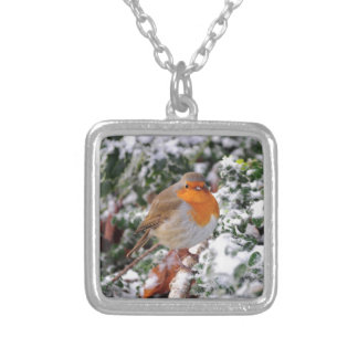 British robin redbreast silver plated necklace