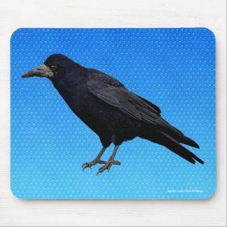 British Rook on Blue Corvid-lover's Mousemat Mouse Pad
