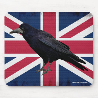 British Rook on Union Flag Corvid-lover's Mousemat Mouse Pad