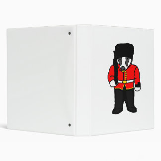 British Royal Guard Badger Cartoon Illustration 3 Ring Binder