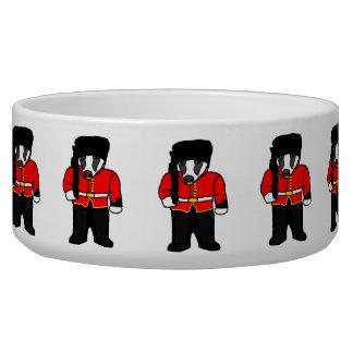 British Royal Guard Badger Cartoon Illustration Bowl