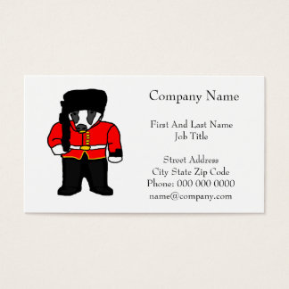 British Royal Guard Badger Cartoon Illustration Business Card