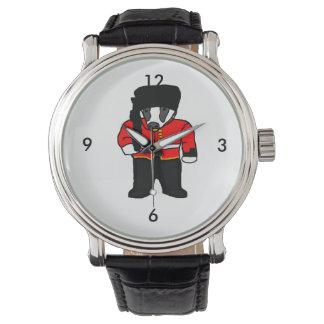 British Royal Guard Badger Cartoon Illustration Watch