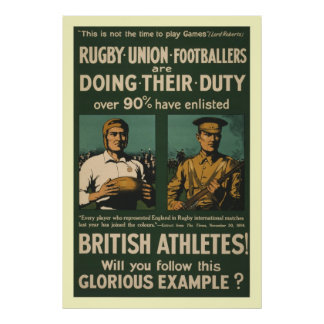 British rugby football players call for duty poster
