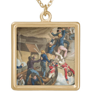 British Sailors Boarding a Man of War, engraved by Gold Plated Necklace