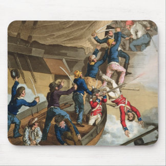 British Sailors Boarding a Man of War, engraved by Mouse Pad