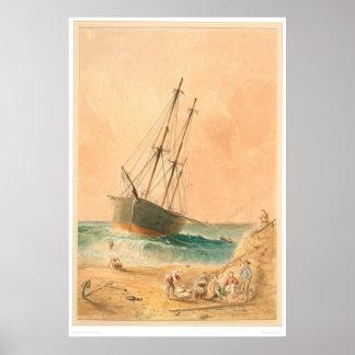"""British ship """"Viscata"""" Beached (0533A) Poster"""