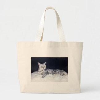 British short hair silver tabby cat lying on fur large tote bag