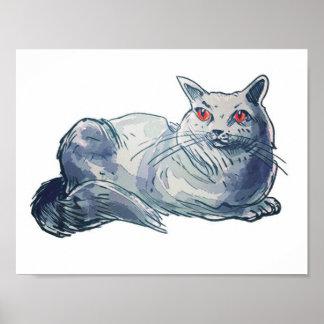 british shorthair cat cartoon style illustration poster