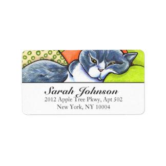 British Shorthair Couch Cat Off-Leash Art™ Custom Label