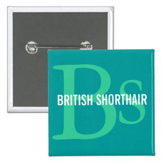 British Shorthair Monogram 2 Inch Square Button