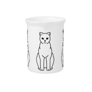 British Shorthair Smoke Cat Cartoon Beverage Pitcher