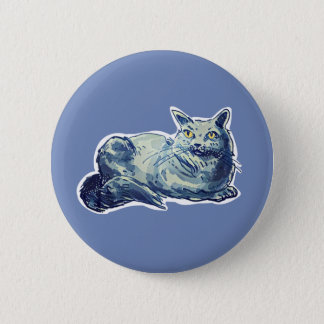 british shorthair sweet cat lady cartoon button