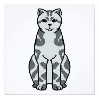 British Shorthair Tabby Cat Cartoon Card