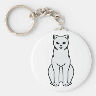 British Shorthair Tipped Cat Cartoon Basic Round Button Keychain