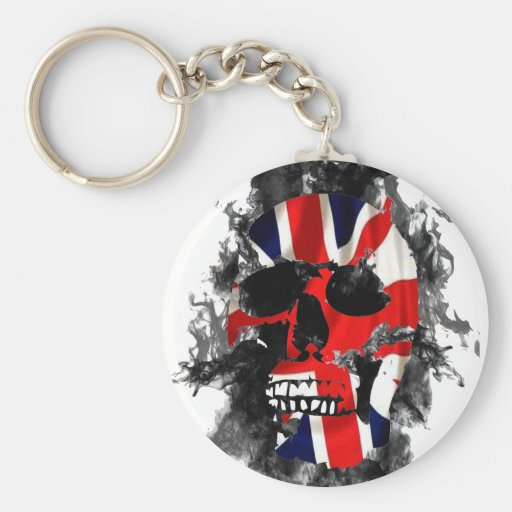 british skull key chain