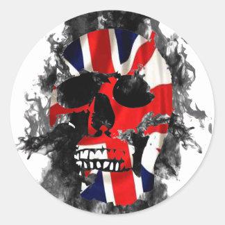 british skull classic round sticker