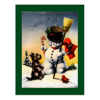 British Snowman and Scotty Dog Cheerio! Postcard
