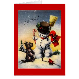 "British Snowman and Scotty Dog Saying ""Cheerio!"" Card"