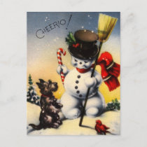 "British Snowman and Scotty Dog Saying ""Cheerio!"" Holiday Postcard"